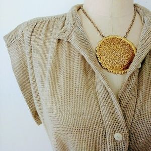 1970s See-thru Mesh Wheat Brown Belted Dress